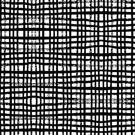 Fantasy abstract seamless pattern made with ink. Modern design.Black and white hipster  background with grungy stripes. Vector illustration. 免版税图像 - 38625494