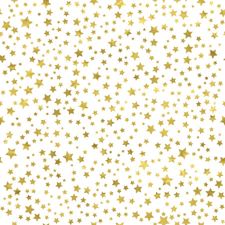 pattern is: Abstract  white  modern seamless pattern with gold stars.   Vector illustration.Shiny background. Texture of gold foil.