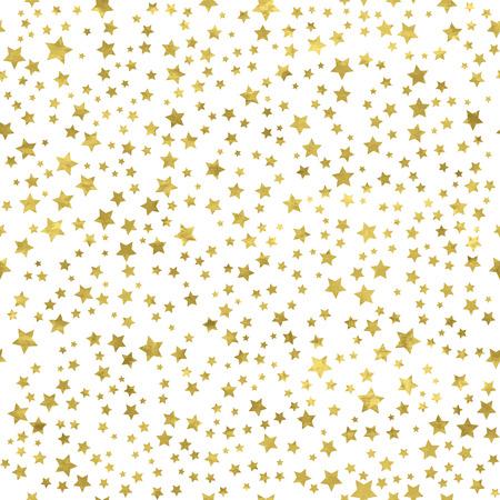 stern: Abstrakte weiße moderne nahtlose Muster mit goldenen Sternen. Vector illustration.Shiny Hintergrund. Textur der Goldfolie. Illustration