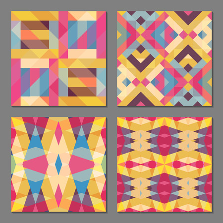 Set of 4 abstract geometric patterns. Colorful retro seamless wallpaper. Vector illustration. Fantasy background with geometric shapes.