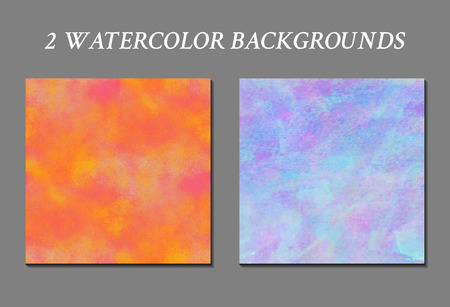 acid colors: Set of 2 watercolor backgrounds. Handmade texture. Bright acid orange and soft blue colors. Vector illustration. Multicolor modern backdrop.
