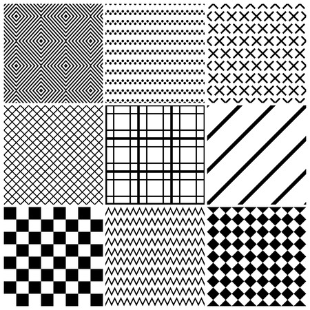 checkerboard: Set of 9 abstract geometric patterns. Classic black and white seamless wallpaper. Vector illustration. Fantasy background with geometric shapes. Zigzag, chevron, checkerboard, rhombus, lines, cross.