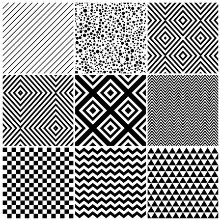 satz von 8 abstrakte geometrische muster klassisches schwarz wei nahtlose tapeten vektor - Tapete Schwarz Weis Muster