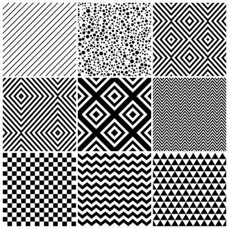 checkerboard backdrop: Set of 8 abstract geometric patterns. Classic black and white seamless wallpaper. Vector illustration. Fantasy background with geometric shapes. Zigzag, chevron, checkerboard,circle, rhombus.