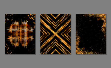 Set of gold and black  journaling cards. Vector