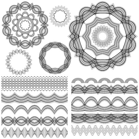 Set of seamless  brushes or dividers. 10 isolated element for your design.5 flower mandalas. Ornate monochrome editable template.  Vector illustration. Vector