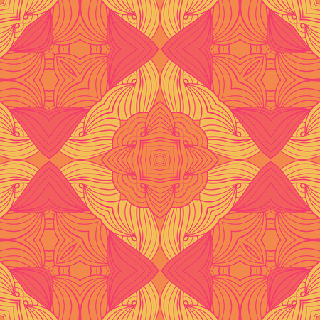 Bright wave seamless pattern with abstract flower.Vector illustration. Vivid colors. Zentangle festive doodle pattern.