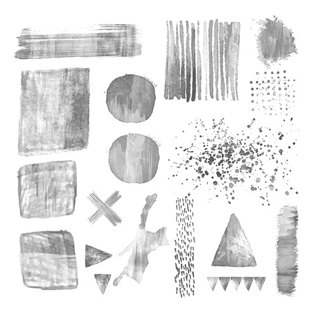 Set of monochromel acrylic design elements. Abstract vector illustration. White background with watercolor stains. Editable template. Isolated. Geometric shape. Triangle square circle cross. Illustration