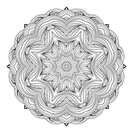 Ornate ethnic mandala. Monochrome  luxury oriental motif. Fantasy element for design. Vintage black and white vector illustration.Fantasy symbol  on  white background.Easy editable. Illustration
