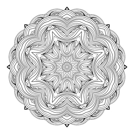 Ornate ethnic mandala. Monochrome  luxury oriental motif. Fantasy element for design. Vintage black and white vector illustration.Fantasy symbol  on  white background.Easy editable. Vectores
