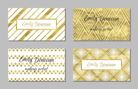 ilustracion: Conjunto de oro plantillas de tarjetas personales o tarjetas de regalo. La textura de la hoja de oro. Ilustración vectorial de lujo. Plantilla editable. Espacio para el texto. Confeti Line.