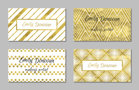 gold colour: Set of gold business card template or gift cards. Texture of gold foil. Luxury vector illustration. Editable template. Space for text. Line confetti.