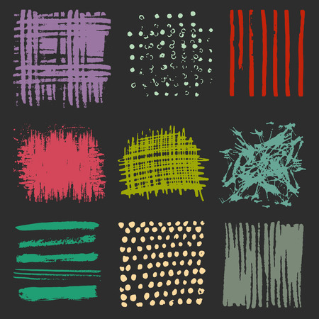 Vector set of multicolor brush strokes. Editable isolated elements. Grunge brushes for your design. Freehand. Watercolor splash. Acrylic stamp. 矢量图像