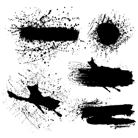 Vector set of splash black brush strokes or banners.Grunge  editable isolated elements for your design. Freehand. Watercolor splash. Acrylic stamp.Space for text.