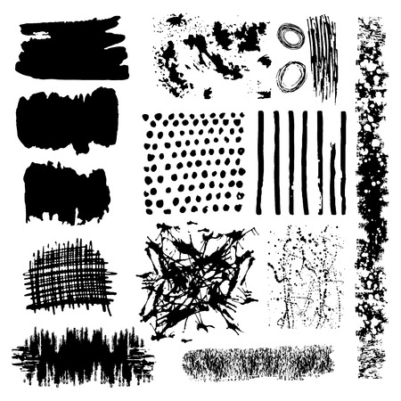 Vector set of black brush strokes. Editable isolated elements. Grunge brushes for your design. Freehand. Watercolor splash. Acrylic stamp. 矢量图像