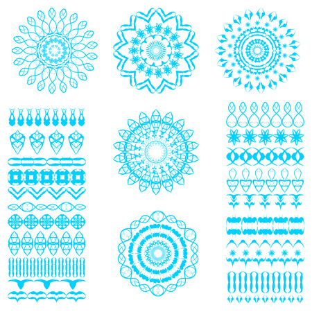 florish: Set of seamless  brushes or dividers. 21 isolated element for your design.5 flower mandalas. Ornate florish editable template. Easy editable. Vector illustration.
