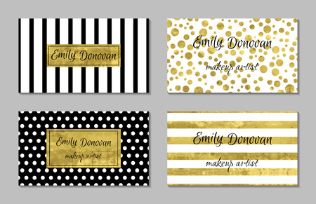 Set of gold business card template or gift cards. Texture of gold foil. Luxury vector illustration. Editable template. Space for text. Line confetti.