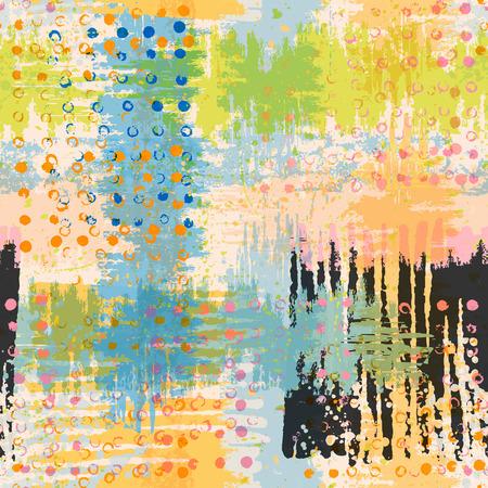 vivid colors: Bright artistic seamless pattern. Handmade texture. Vivid acid green yellow blue pink and black colors. Vector illustration. Illustration