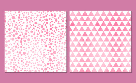 Set of 2 watercolor seamless patterns. Classic polka dot and background with triangles. Vector illustration. White wallpaper with soft pink circles and triangles.