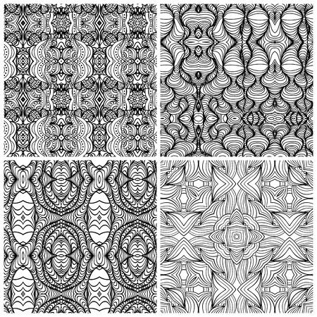 white wave: Set of 4 black and white wave seamless pattern.Vector illustration.  Monochrome zentangle festive doodle pattern. Illustration