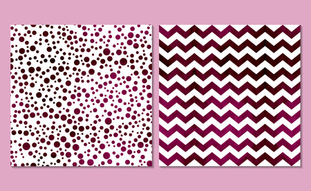 white wallpaper: Set of 2 watercolor seamless patterns. Classic polka dot and chevron background. Vector illustration. White wallpaper with burgundy circles and zig zag.