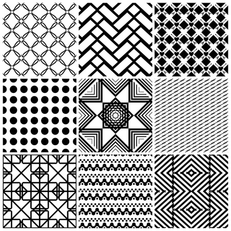 Set of 9 abstract geometric patterns. Classic black and white seamless wallpaper. Vector illustration. Fantasy background with geometric shapes. Zigzag chevron polka dot circle rhombus hearts.