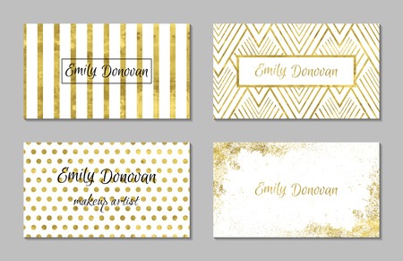 gold: Set of 4 gold and white business card template or gift cards. Texture of gold foil. Luxury vector illustration. Easy editable template. Space for text. Line confetti.