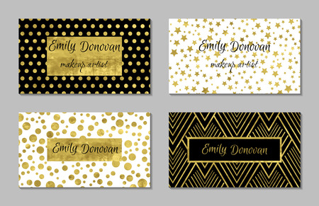 greetings card: Set of 4 gold and white business card template or gift cards. Texture of gold foil. Luxury vector illustration. Easy editable template. Space for text. Stars confetti. Illustration