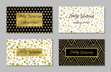 Set van 4 gouden en witte visitekaartje sjabloon of cadeaubonnen. Textuur van goud folie. Luxe vector illustratie. Gemakkelijk bewerkbare sjabloon. Ruimte voor tekst. Sterren confetti.