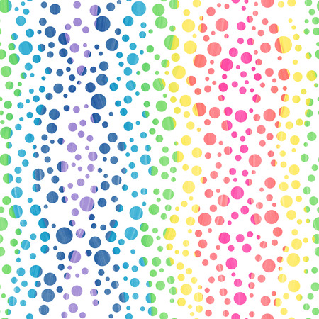 Watercolor abstract seamless wallpaper. Colorful confetti. Classic polka dot pattern.Color transition.White background with multicolor circles. Vector illustration. Colorful confetti.