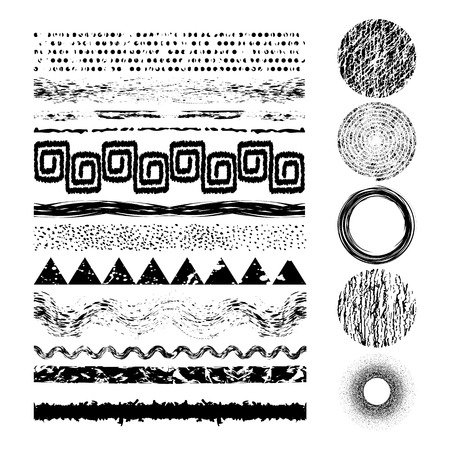 Set of 17 grunge elements. Hand drawn banners or brush or dividers and frame.Vector illustration. Editable isolated elements for graphic design.  Freehand. Triangle, spiral, zigzag, stripes, dots, splash.