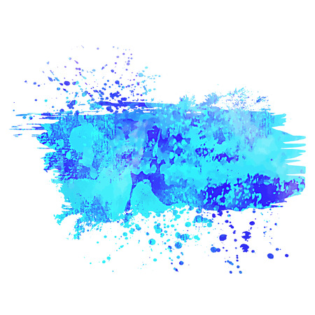 splatter paint: Abstract background or banner. Colorful watercolor isolated design elements. Vector illustration. Easy editable template.  Bright acid  blue color.