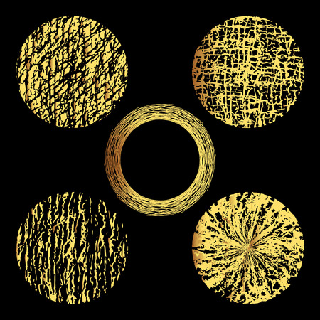 Set of 5 gold grunge elements. Hand drawn circles.Vector illustration.Grunge circle frames. Isolated elements for graphic design.Editable template. Gold shapes on a black background. Ilustrace