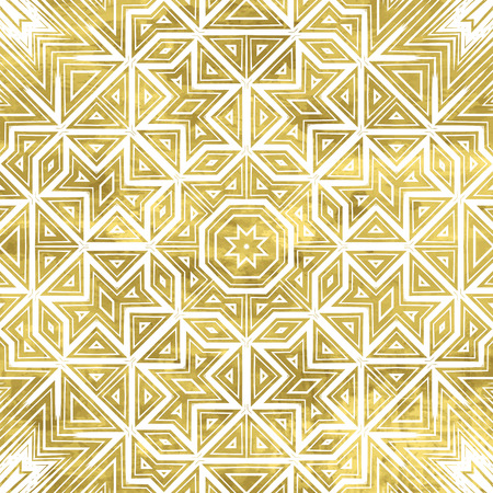 Abstract ornate golden background. Fantasy geometric element for design. Bright luxury oriental motif. Vintage vivid vector illustration. Shiny gold backdrop. 免版税图像 - 43848539