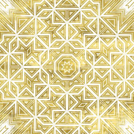 Abstract ornate golden background. Fantasy geometric element for design. Bright luxury oriental motif. Vintage vivid vector illustration. Shiny gold backdrop.