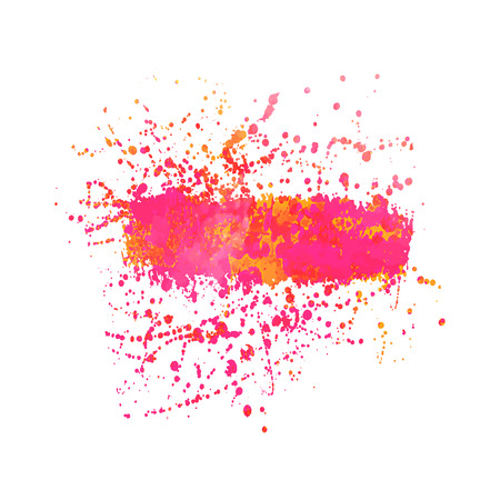 acid colors: Abstract background or banner. Colorful watercolor isolated design elements. Vector illustration. Easy editable template.  Bright acid  pink and orange colors.