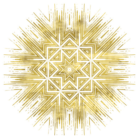 Ornate golden mandala. Fantasy geometric element for design. Bright luxury oriental motif. Vintage vivid vector illustration. Shiny gold symbol on white background.