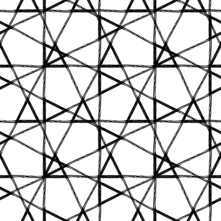 Abstract geometric seamless pattern made with ink. Modern design.Black and white hipster  background with grungy triangles. Vector illustration. Vectores