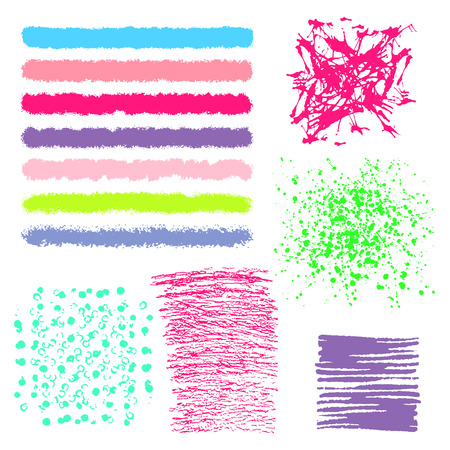 Vector set of multicolor brush strokes. Editable isolated elements. Grunge brushes for your design. Freehand. Watercolor splash. Acrylic stamp. Illustration