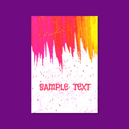 acid colors: Colorful  watercolor card. Vector illustration. Editable template. Space for your text. Acid pink,  red and yellow colors. Bright drops.