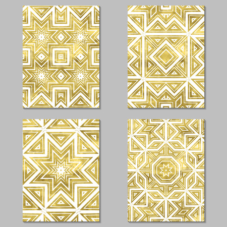 grunge floral: Set of 4 gold and white  journaling cards. Vector illustration. Editable template.  Grunge, floral, ethnic. Illustration