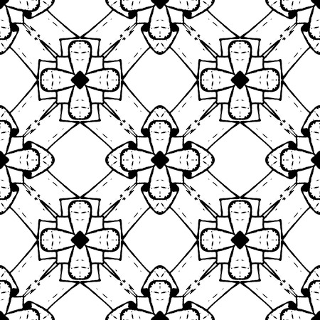freehand: Freehand seamless pattern with abstract flowers. Black and white background  made with ink.Vector illustration.Monochrome modern backdrop.