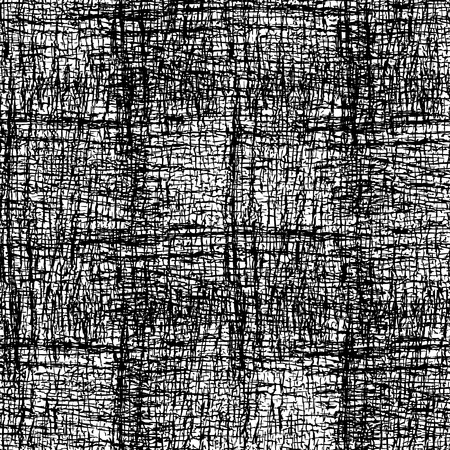 Black and white  background with grungy grid. Monochrome textured abstract seamless pattern. Modern design. Vector illustration.