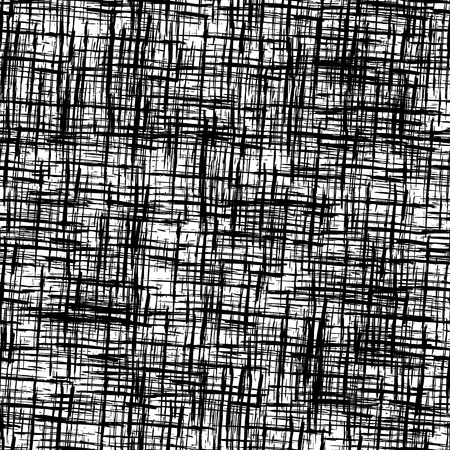fabric texture: Black and white  background with grungy grid. Monochrome textured abstract seamless pattern. Modern design. Vector illustration.
