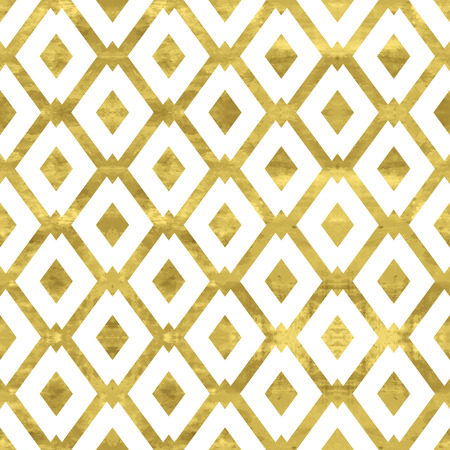 White and gold  pattern. Abstract geometric modern background. Vector illustration.Shiny backdrop with  rhombus. Texture of gold foil. Art deco style. Illustration