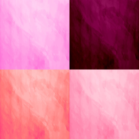 watercolour background: Set of 4 watercolor backgrounds. Handmade texture. Bright vivid orange,burgundy and pink colors. Vector illustration. Multicolor modern backdrop. Illustration