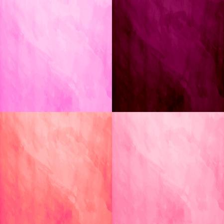 vivid colors: Set of 4 watercolor backgrounds. Handmade texture. Bright vivid orange,burgundy and pink colors. Vector illustration. Multicolor modern backdrop. Illustration