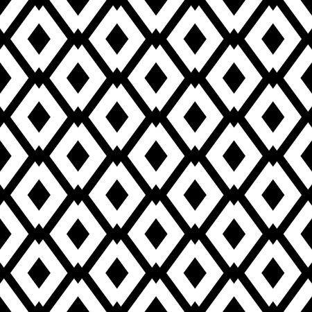 菱形と抽象的な幾何学的なシームレス パターン。シンプルな黒と白の背景。ベクトルの図。白黒のクラシックなデザイン。