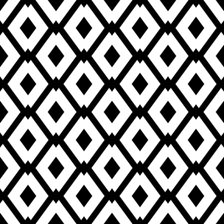 Abstract geometric seamless pattern with rhombus. Simple black and white background.Vector illustration. Monochrome classic design.
