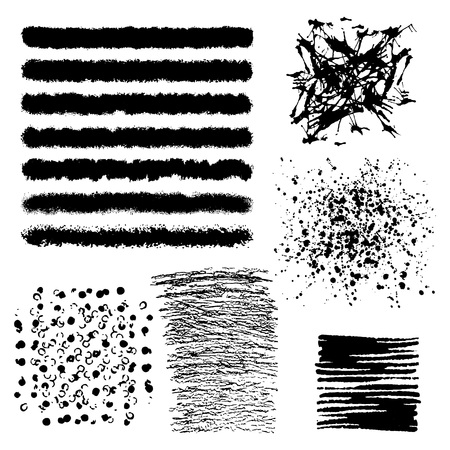 muddy: Vector set of black brush strokes. Editable isolated elements. Grunge brushes for your design. Freehand. Watercolor splash. Acrylic stamp. Illustration